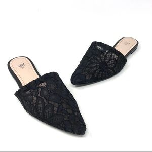 H&M Pointed Toe Black Lace Mules Slides Flats 7